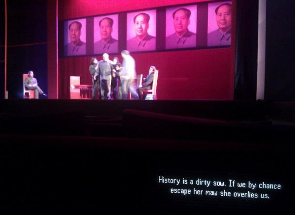 "Supertitles (text of the lyrics) will be provided during performances of ""Nixon in China"" as pictured here during the dress rehearsal."