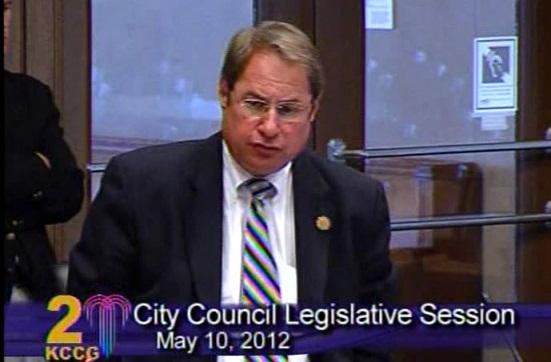 Kansas City Councilman Jim Glover explains his vote against a contract with Firefighters Local 42.
