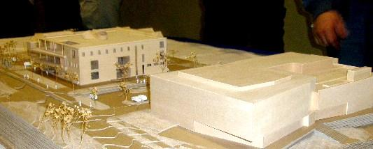Model of new building at  UMKC Bloch School of Management.