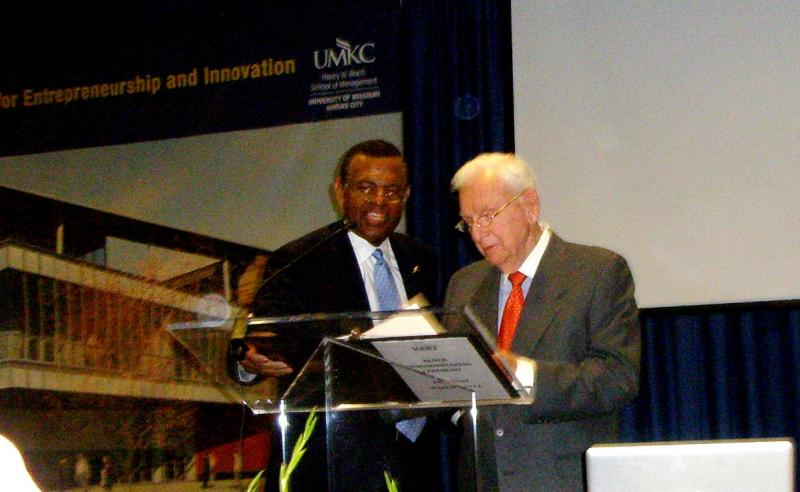 Benefactor Henry Bloch, right, with UMKC Chancellor Leo Morton.