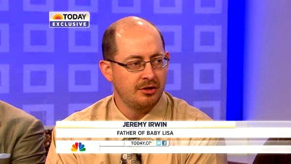 Jeremy Irwin on The Today Show speaks of missing baby daughter.