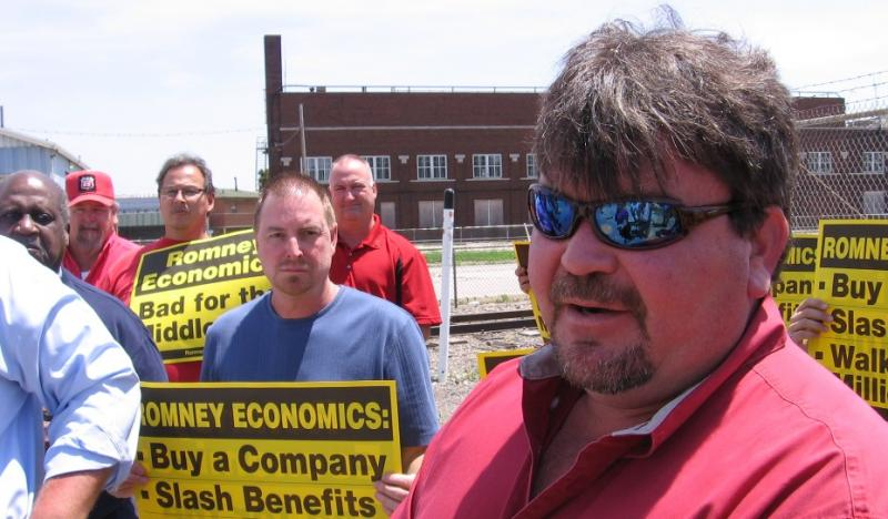 Former steelworker and Democratic Committeeman Jeff Jones outside plant where he worked.