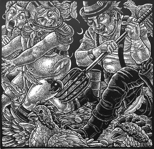 """xxxpulsion, 2012 linoleum cut print, 16""""x16"""""""