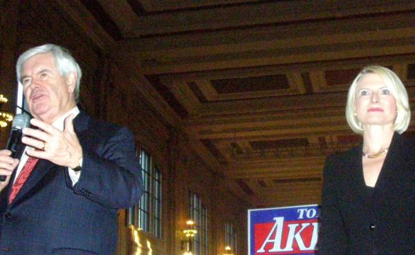Former House Speaker Newt Gingrich and wife, Calista, speak for GOP candidates at Kansas City's Union Station rally.