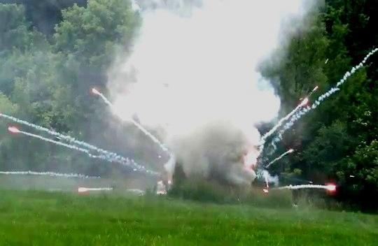 Kansas City Police Bomb Squad detonates seized fireworks.