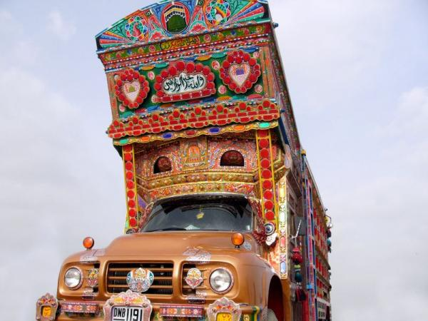 Here's a real Pakistani Cargo Truck that Asheer may have gotten his inspiration from.