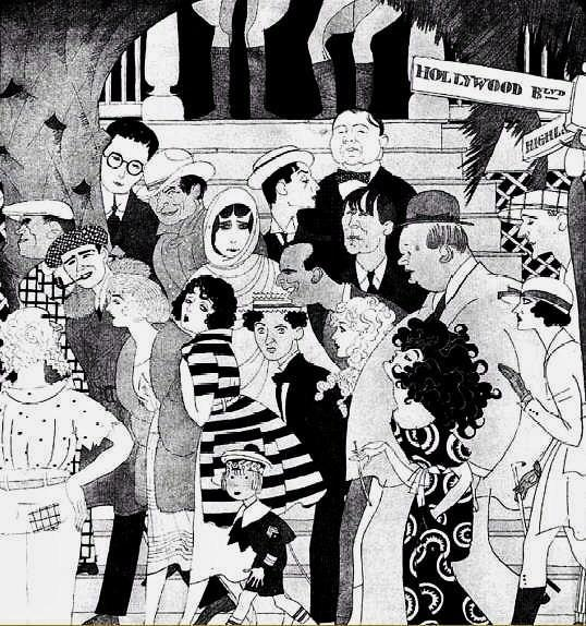"A drawing in 1921 by Ralph Barton entitled ""When The 5 O'Clock Whistle Blows in Hollywood."""