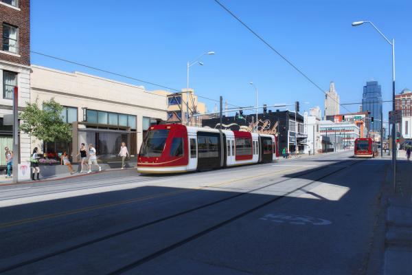 Artist's conception of the actual streetcars that will run on Main Street in downtown Kansas City, MO.