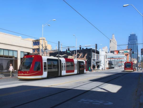 Kansas City will purchase four streetcars like the ones pictured for $17.9 million.