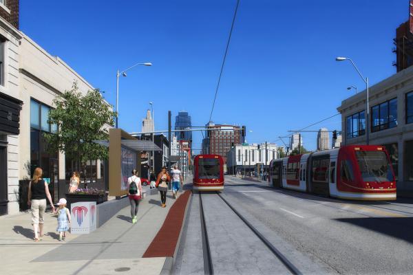 Artist's rendering of proposed Main Street streetcar line