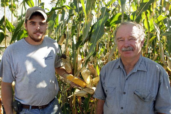 James Frantzen, left, and his father Tom Frantzen run an organic farm in New Hampton, Iowa.
