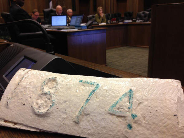 Sewer pipe dated 1874 was recently dug up near the Kansas City, Mo., City Hall.