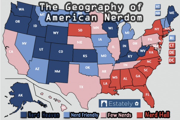 Kansas joins other western states as the most nerdy, according to the real estate blog, Estately.