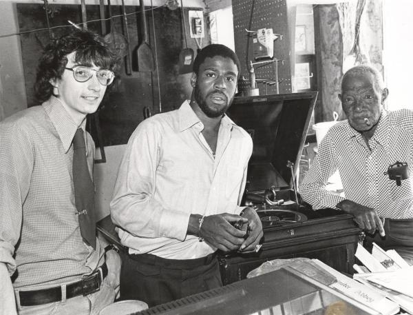 """Horace Peterson III, middle, interviewed James Anderson, right, for an oral history research program with the Black Archives of Mid-America in 1976. Anderson ran a shop with his wife he called """"Kansas City's Smallest Free Museum."""""""