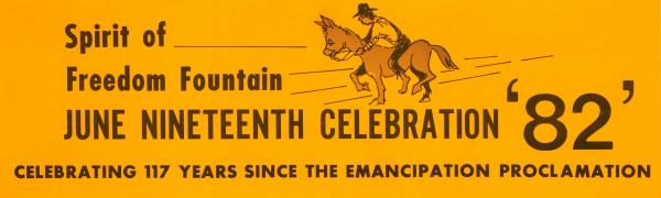A bumper sticker advertising the first documented Juneteenth celebration in Kansas City is a part of the collection honoring the 40th anniversary of the Black Archives of Mid-America. Juneteenth celebrations remember June 19, 1865, the day the last slaves heard about the Emancipation Proclamation.