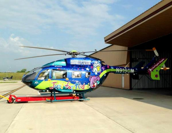 Children's Mercy Hospital trotted out its helicopter to emphasize the dangers of laser-beaming aircraft.