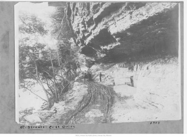 This 1903 photo shows a portion of Cliff Drive near an overhang.