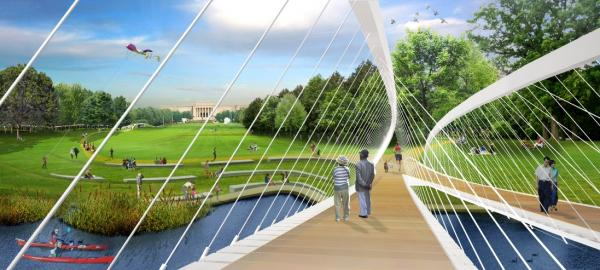 The Nelson-Atkins grand vision of expansion includes a bridge over Brush Creek near what is now Theis Park.