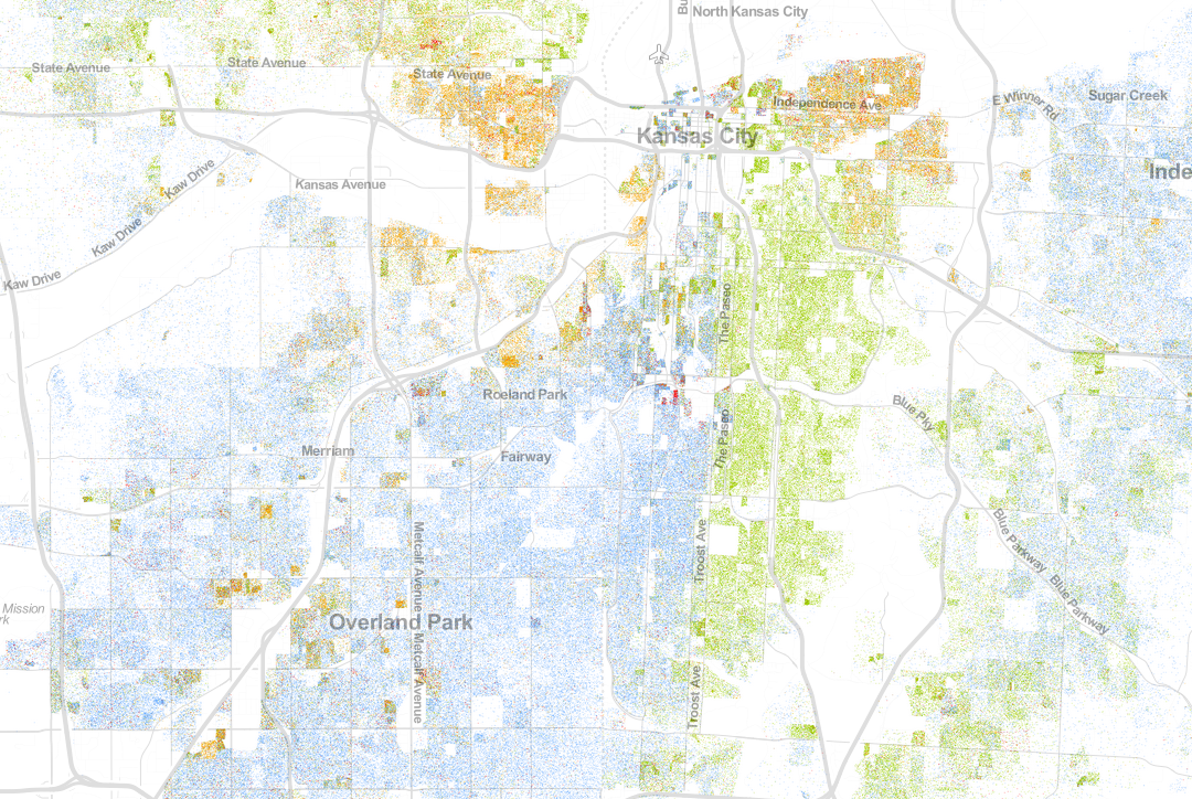 How troost became a major divide in kansas city kcur this visualization of 2010 us census data shows troost as a racial divider in kansas city mo blue dots represent white residents green dots represent sciox Image collections