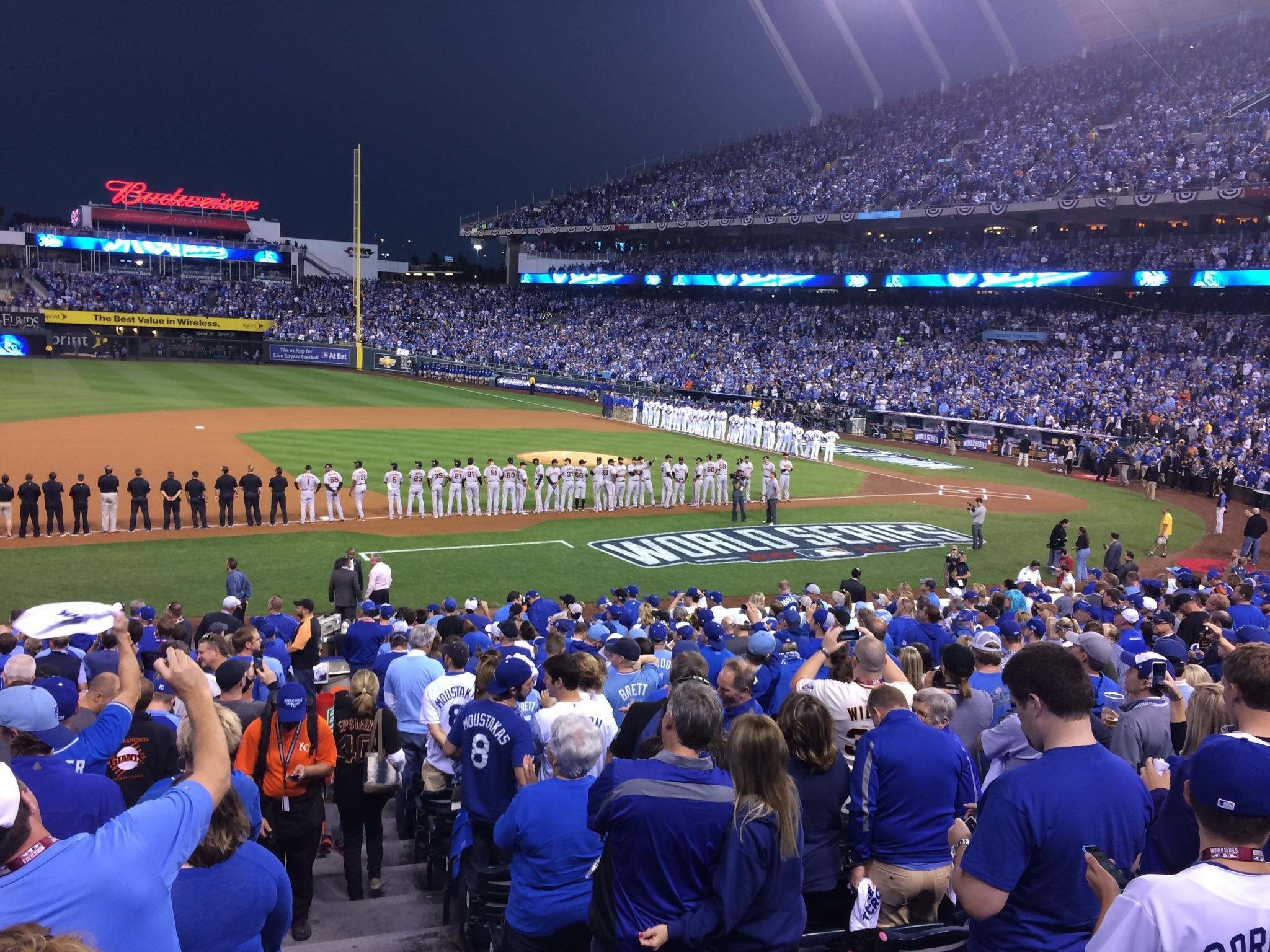 The Opening Line Up Of Game One World Series At Kauffman Stadium With Kansas City Royals Going Against San Francisco Giants