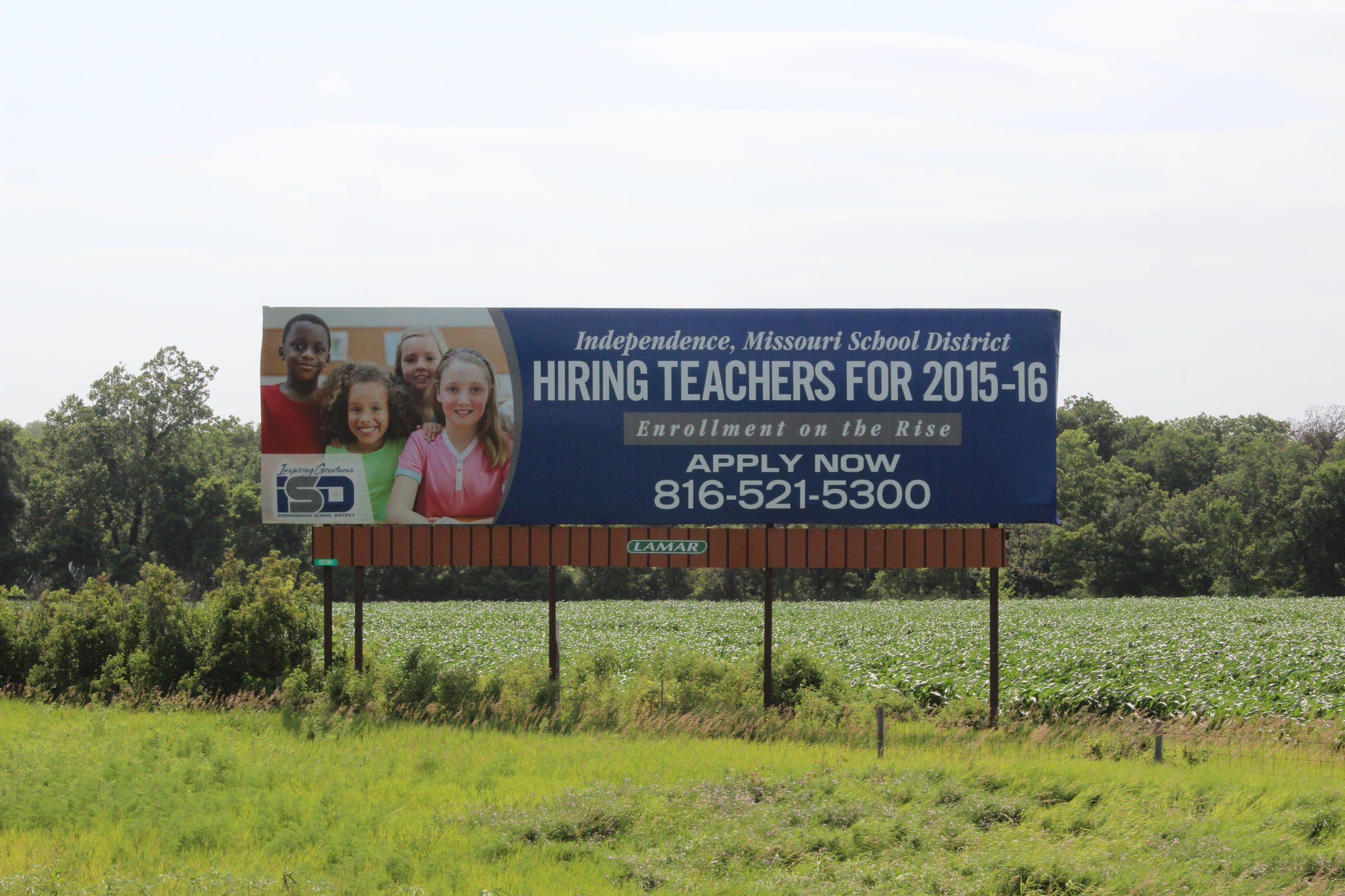 The Independence School District is actively recruiting Kansas teachers.  This billboard is along the Kansas Turnpike near Lawrence. f0c315f9533f