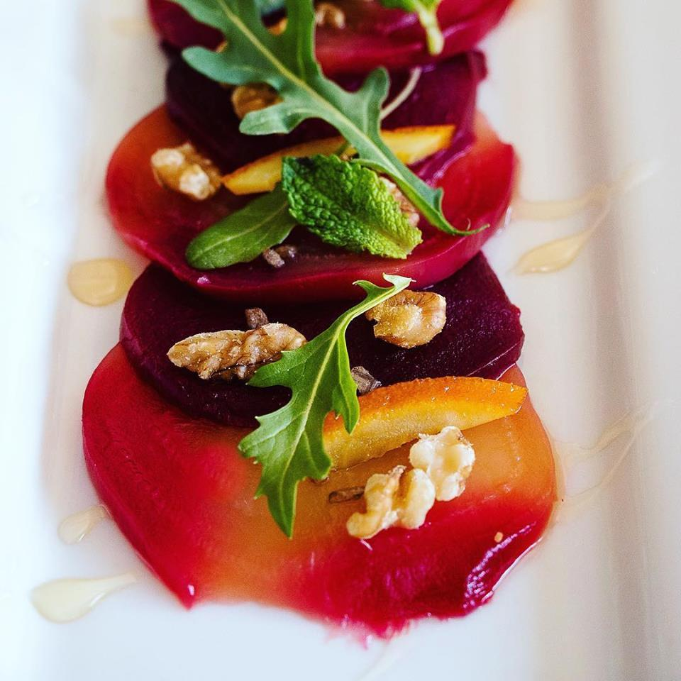 Roasted Beets With Walnuts Arugula Orange Preserve Honey Mint And Smoked Grey Sea Salt At Plate