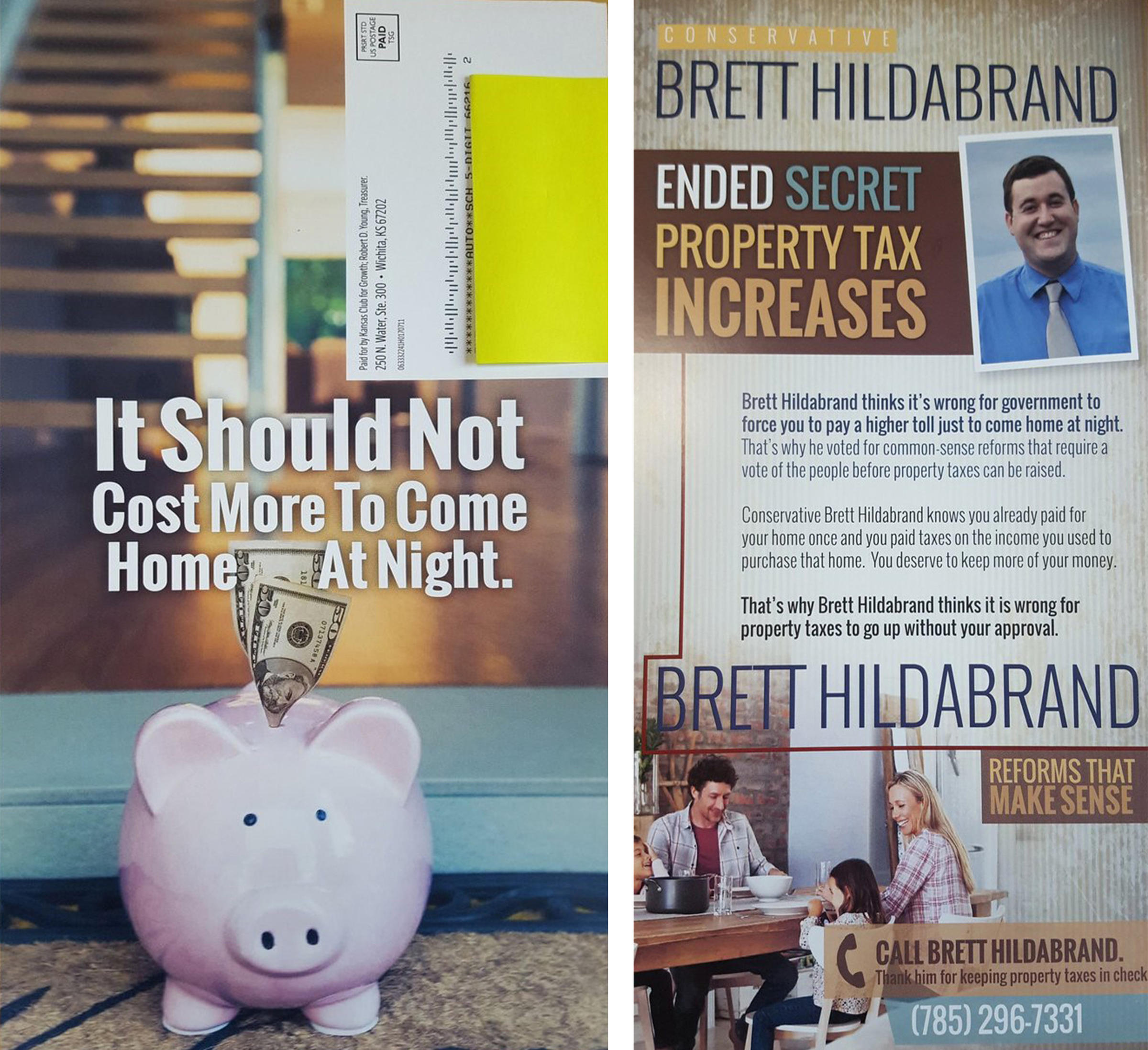 Kansas johnson county real estate taxes - A Postcard Sent By Kansas Club For Growth In Support Of Incumbent Johnson County Rep Brett Hildabrand References Secret Property Tax Increases