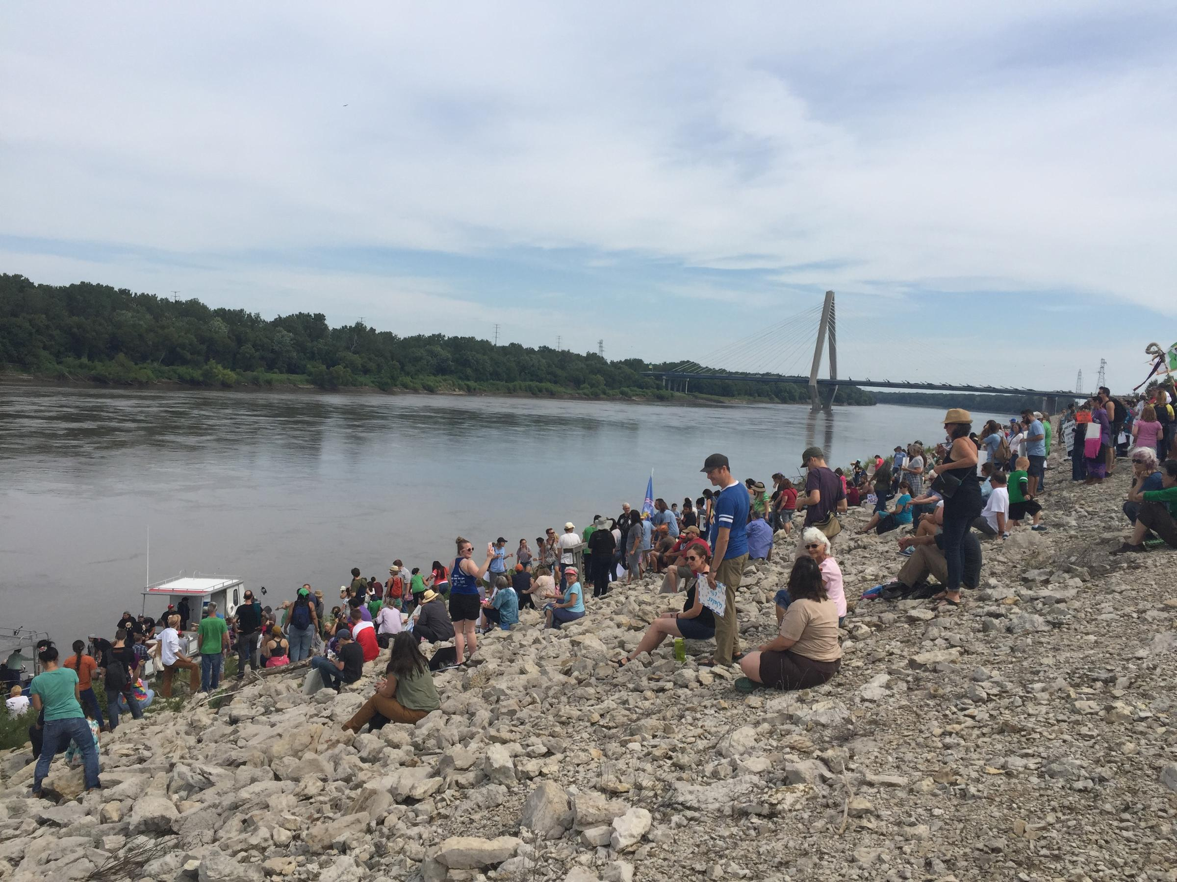along the banks of the missouri river hundreds protest the dakota protesters assembled on the banks of the missouri river on sunday in protest of the dakota access pipeline