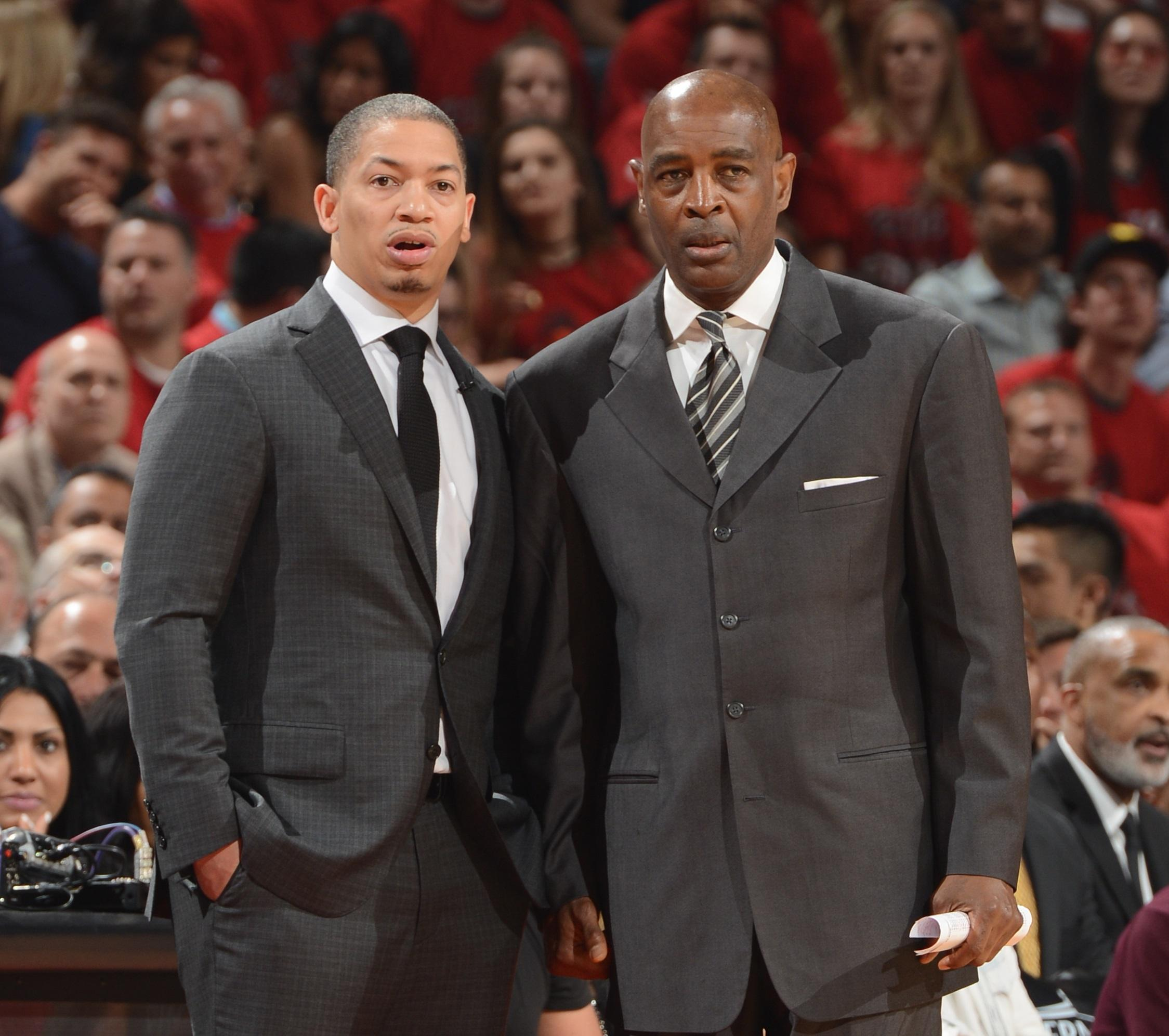 Cleveland Cavaliers head coach Tyronn Lue (left) stands with his assistant  coach Larry Drew. They both went to high school in the Kansas City area. 5e2916ad4