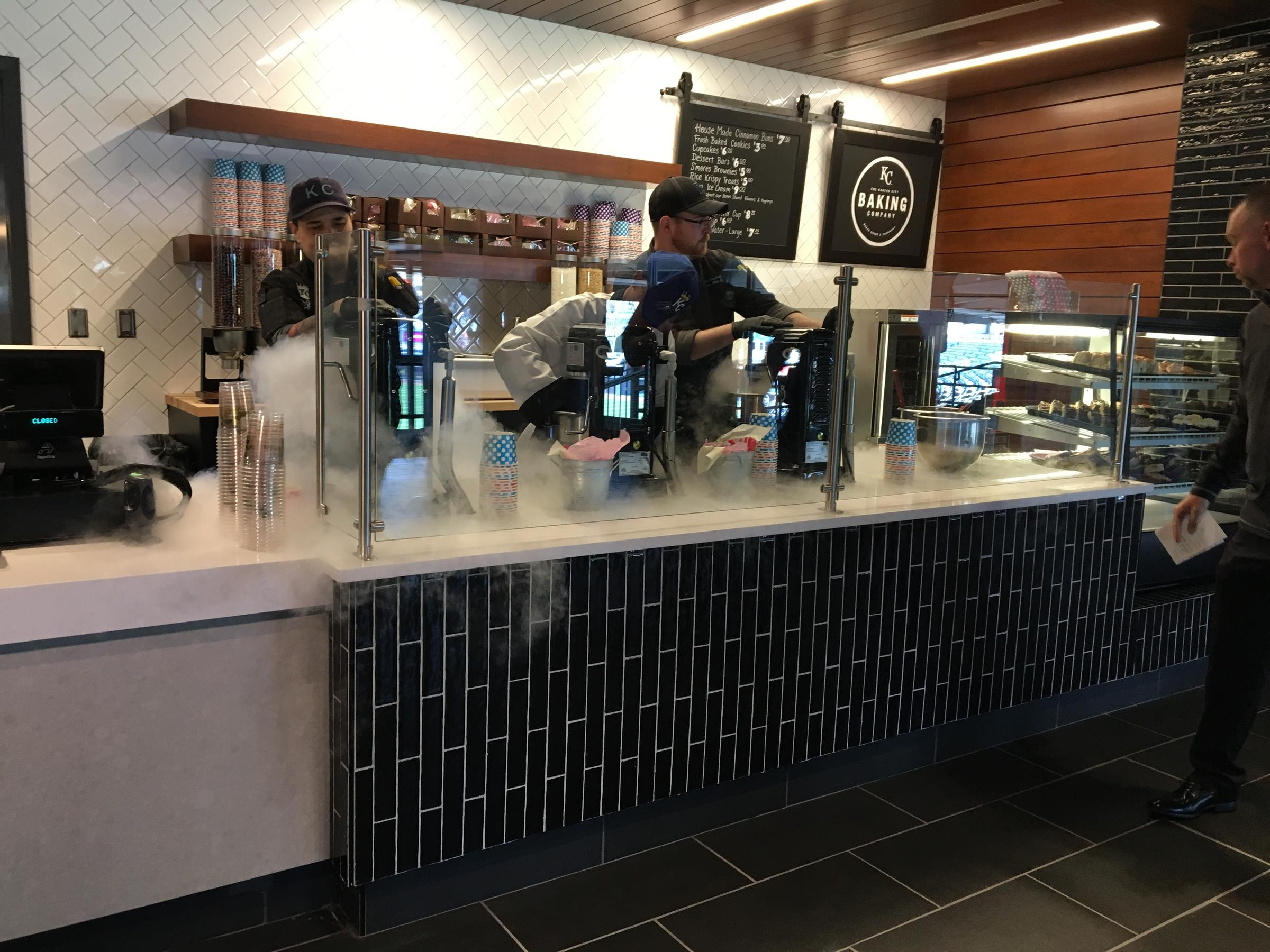 The Kansas City Baking Co. located in the Diamond Club at Kauffman Stadium makes ice cream chilled in 30 seconds with liquid nitrogen