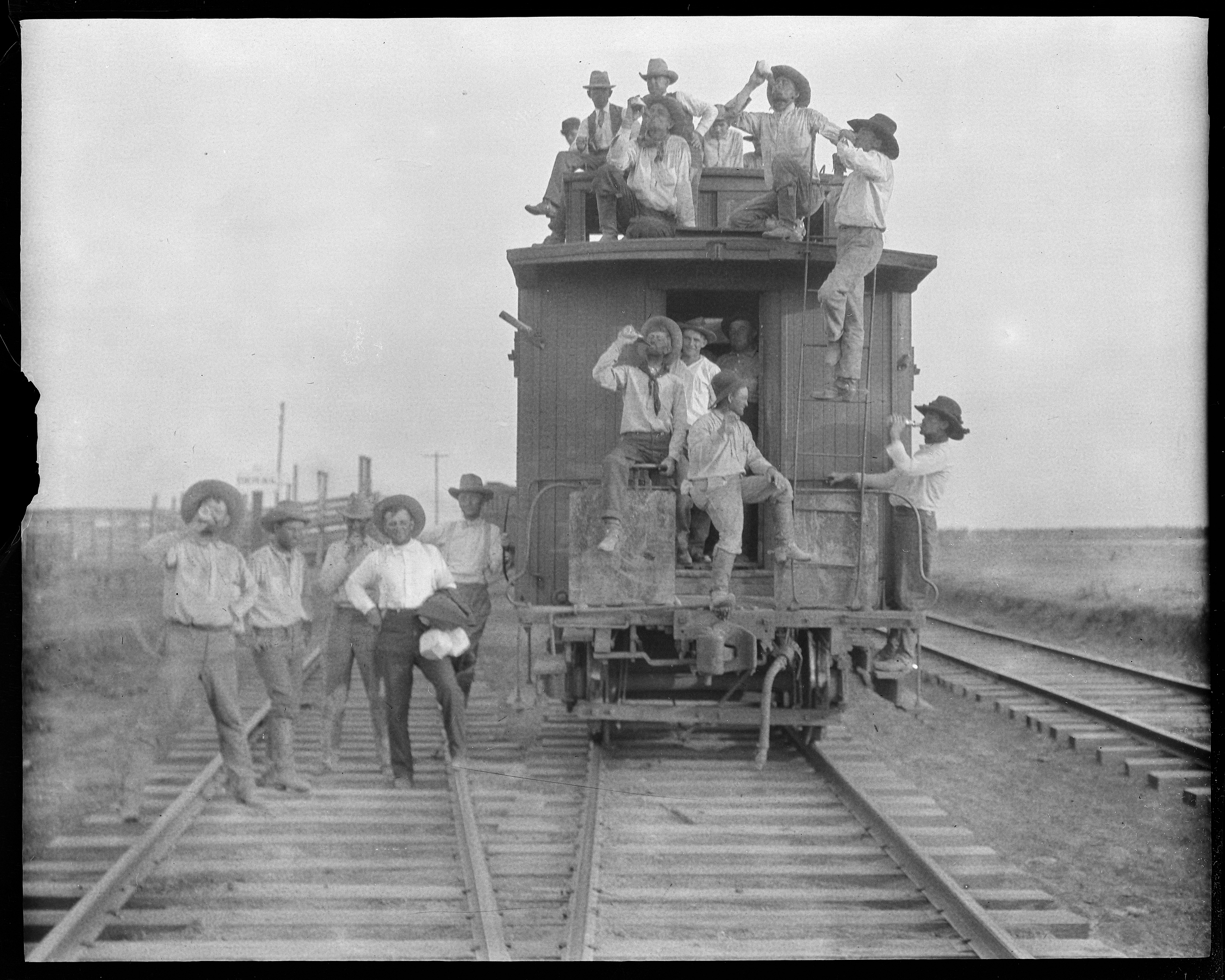 A picture from 1910 shows cowboys celebrating the delivery of cattle to lubbock texas