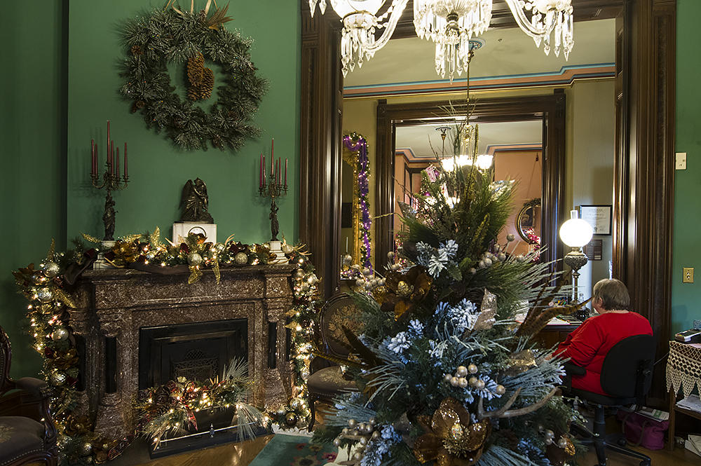 the mens parlor features one of the mansions nine marble fireplaces - Mansion Christmas Decorations