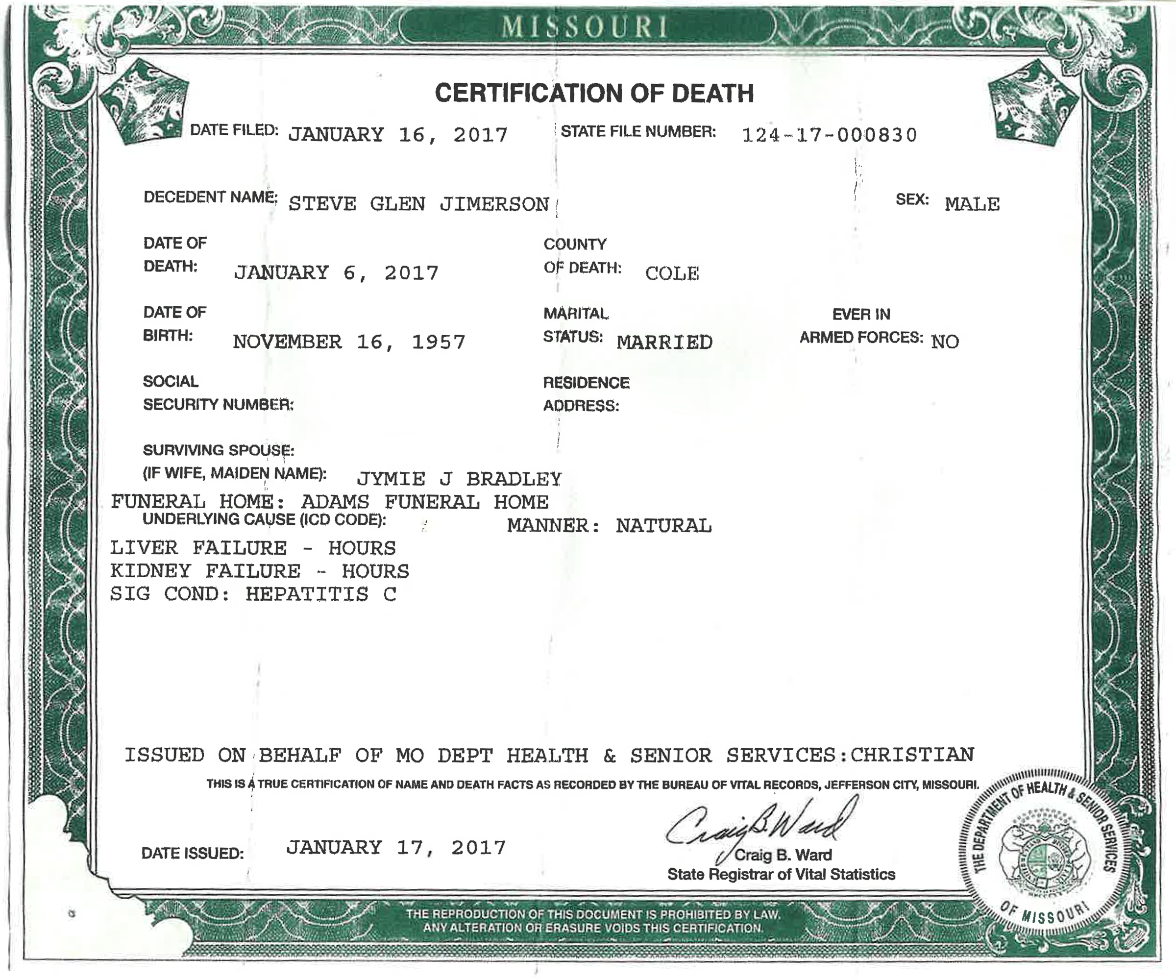 Missouri and other states face potentially costly dilemma over steve jimersons death certificate showing he died of liver failure attributable to hepatitis c xflitez Choice Image