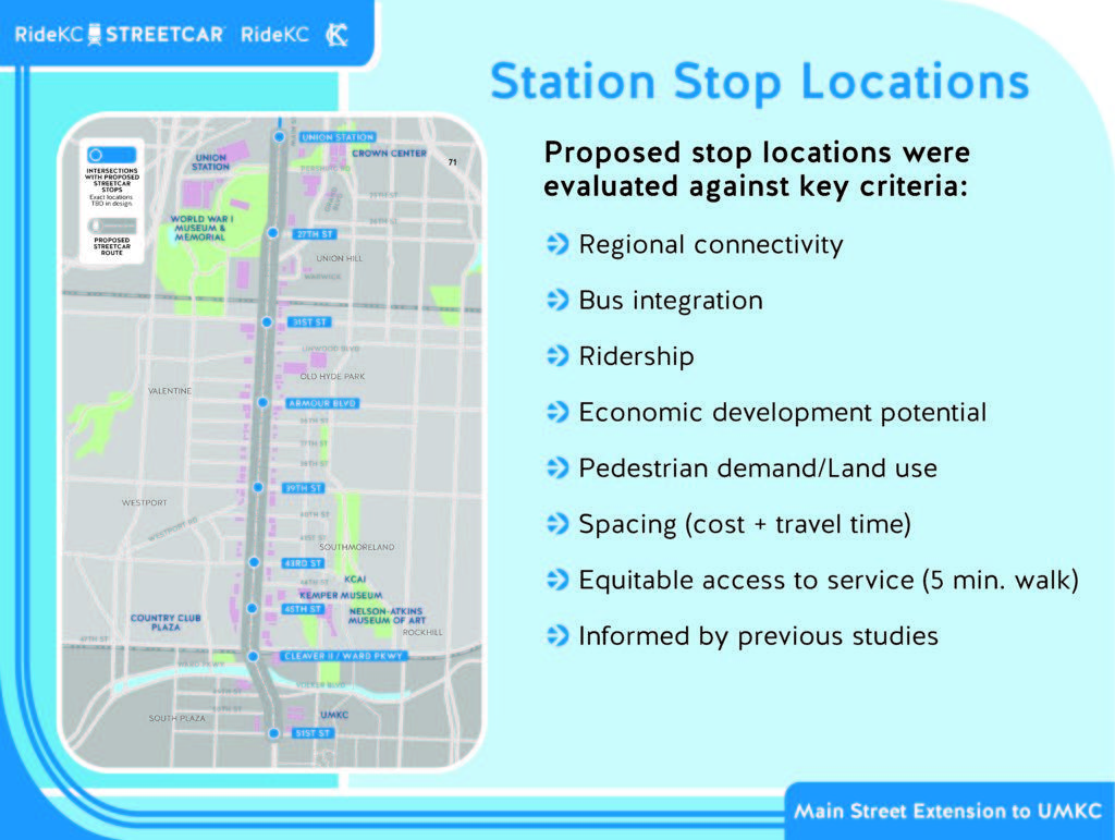 the map of the revised streetcar stops includes changes to the linwood stop and the cleaver boulevard stop