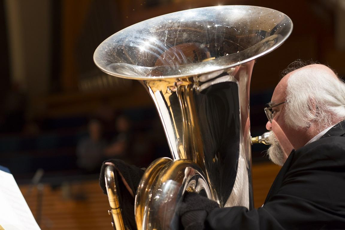 Steve Seward, principal tuba, performing during a Kansas City Symphony concert. Credit Todd Rosenberg / Kansas City Symphony