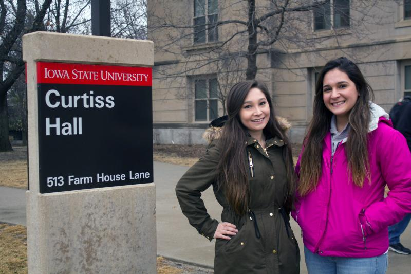 Iowa State University students Liz Hada, left, and Melissa Garcia Rodriguez say they have experienced racial tension in some of their classes.