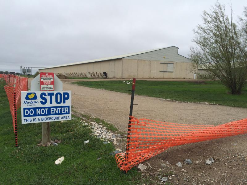 A sign at one of the gates of Sunset Farms in Harris, Iowa, which was infected with avian flu in 2015.