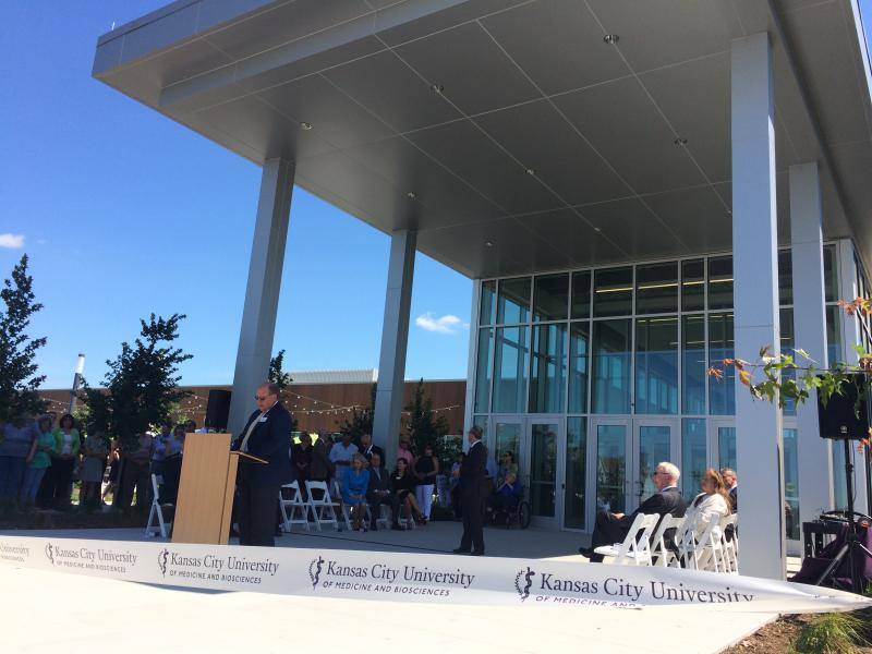 Mayor Mike Seibert of Joplin, Missouri, leads the grand opening ceremony of the Kansas City University of Medicine and Biosciences campus in June.