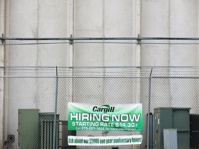 A sign at Cargill's Fort Morgan beef processing plant advertised open positions in January 2016.