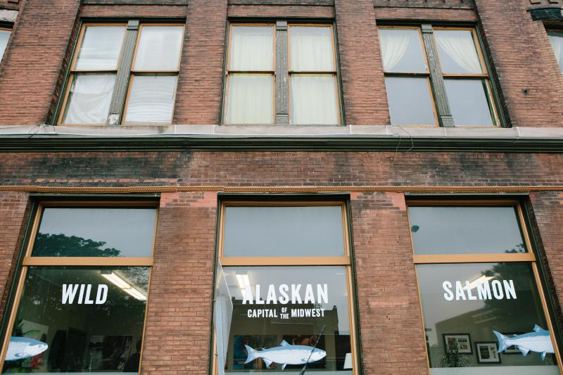 Sitka Salmon Shares has a downtown office in Galesburg, Illinois, (picutred here) and a warehouse outside of town. They also have operations in Sitka, Alaska; Madison, Wisconsin; and Schaumburg, Illinois.