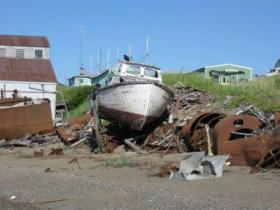 A derelict fishing vessel on the North Shore of Egegik in Bristol Bay.