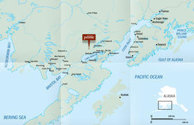 The location of the proposed Pebble Mine in relation to the rest of the Bristol Bay region.