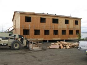 A building being built as part of the new Silver Bay Seafood's processing plant in Naknek.