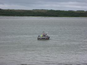A driftnet vessel at anchor in the Naknek River during the 2013 season.