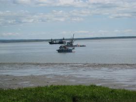 A Bristol Bay driftnet vessel headed out of the Dillingham Harbor.
