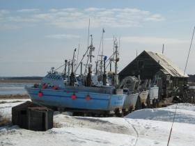 Bristol Bay driftnet vessels stored in Clarks Point.