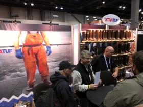 "XtraTuf reps telling fishermen at the Pacific Marine Expo in Seattle that their boots are not just ""sort of tough"" anymore."