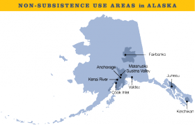 A map of the non-subsistence use areas in Alaska.