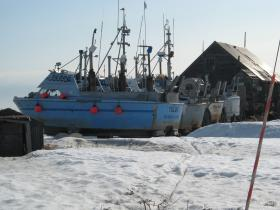 Bristol Bay driftnet vessel stored for the winter in Clarks Point.