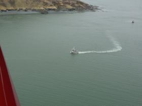 A fishing vessel looking for herring as part of the ongoing Togiak sac-roe herring fishery.